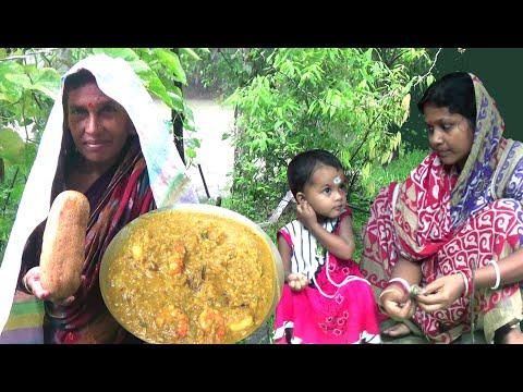 Paka Sosha R Chingri Diye Darun Swader Ghonto. Very Tasty Cucumber and Prawn Recipe
