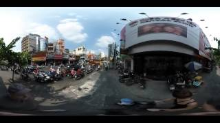 Walking down Ho Chi Minh (Saigon) streets (360  video)with stroller towards Ben Thanh Market  Part I