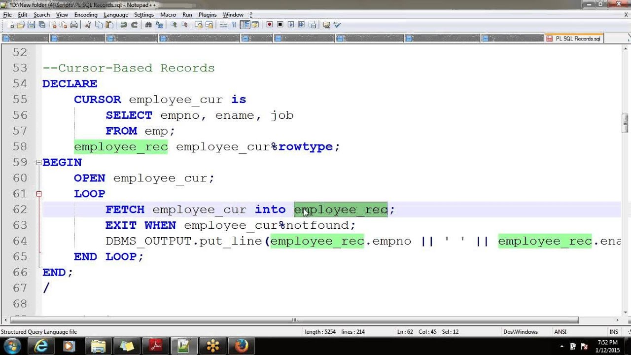 Collections pl sql oracle