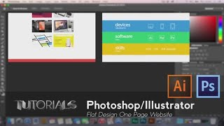 Photoshop & Illustrator Tutorial: Flat Design Landing Page