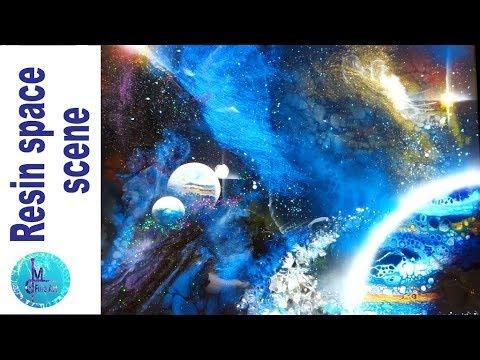 3D RESIN Space ART - Acrylic pouring, resin & airbrush - GALAXY and NEBULA Tutorial & Star Trek fun