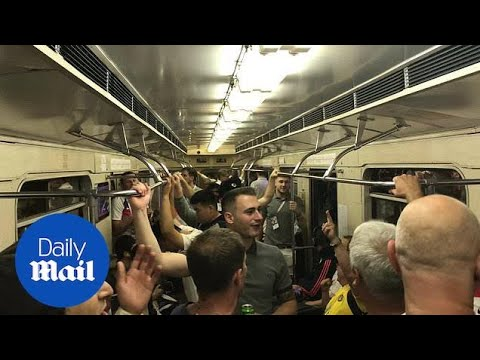 England fans chant on the Moscow metro on their way to the game - Daily Mail