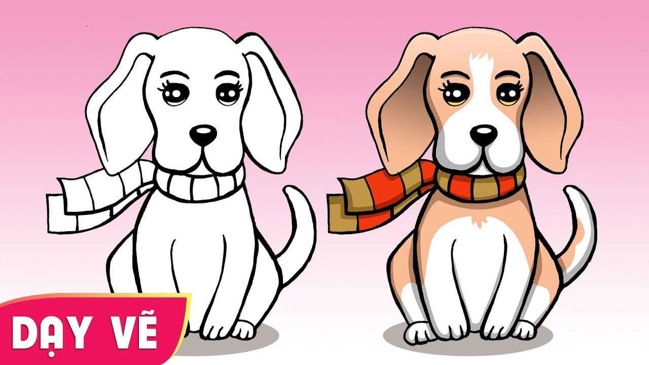Dạy vẽ con chó từng bước dễ hiểu ♥ How to draw a dog stepby step ♥