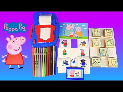 Peppa Pig Wooden Stamp and Sticker Dispenser Activity Set How To Make Peppapig Stampers Full Episode