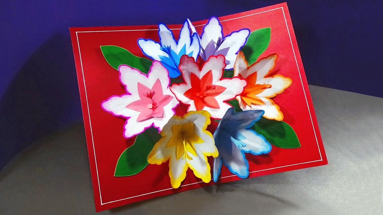 how to make a 3d flower pop up card