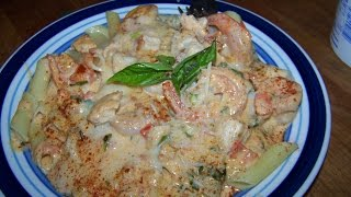 Chicken, Shrimp, Alfredo, Basil, Tomato, Penne, Mozzarella 2/2 Chef John The Ghetto Gourmet Show Ii