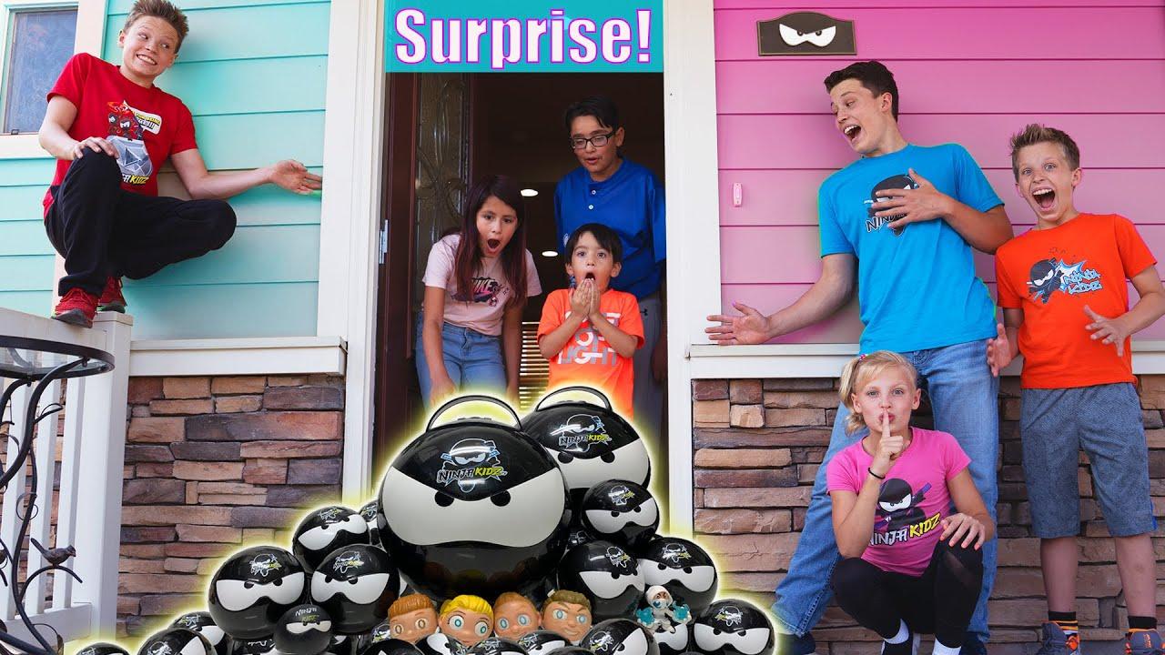 Surprising Ninja Kidz Fans at their House!
