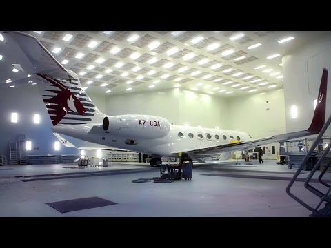Painting The Qatar Executive Gulfstream G650ER Private Jet - Qatar Airways