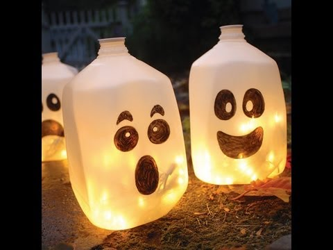 Homemade halloween decorations ghost lanterns youtube for Halloween decorations to make at home for kids