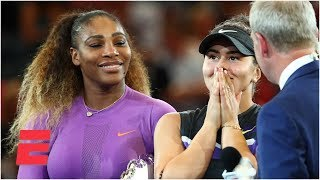 Serena Williams and Bianca Andreescu address the crowd after Women's Final   2019 US Open Interviews