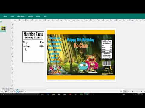 Diy, Tutorial, Custom nutrition Facts, barcodes for your chip bag publisher