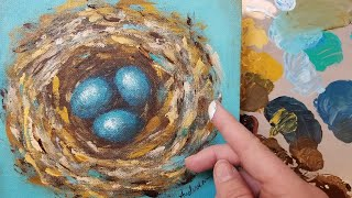 Bird Nest Fingerpainting LIVE Acrylic Painting Tutorial thumbnail