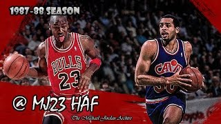 Michael Jordan vs Dell Curry (Stephen's Father) Highlights Bulls vs Cavs (1988.03.25) - 65pts Total!