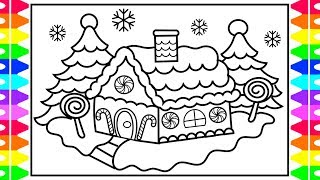 CHRISTMAS COLORING! How to Draw and Color a Gingerbread House! Kids Gingerbread House Coloring Page