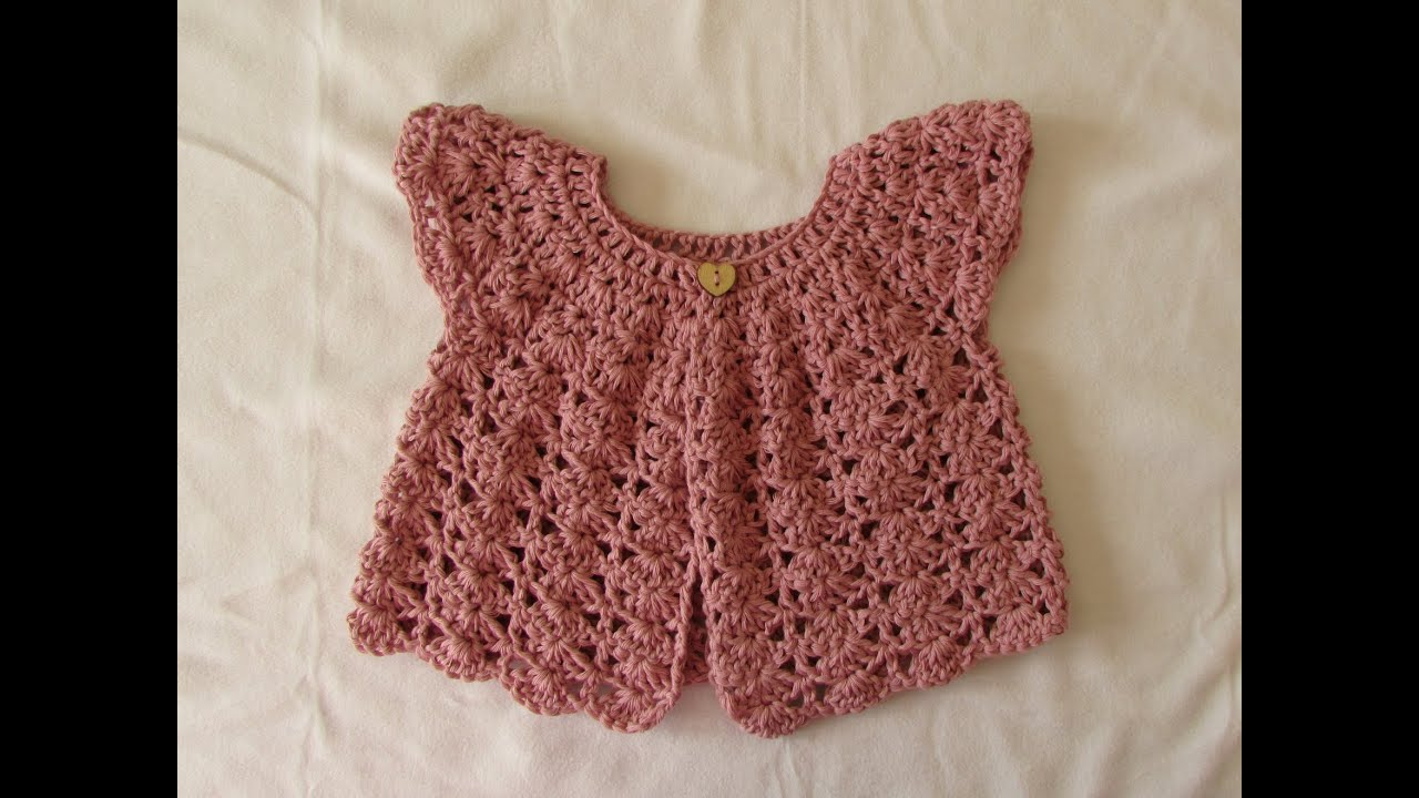 a64ee30512ff How to crochet a pretty shell stitch cardigan   sweater - baby and ...