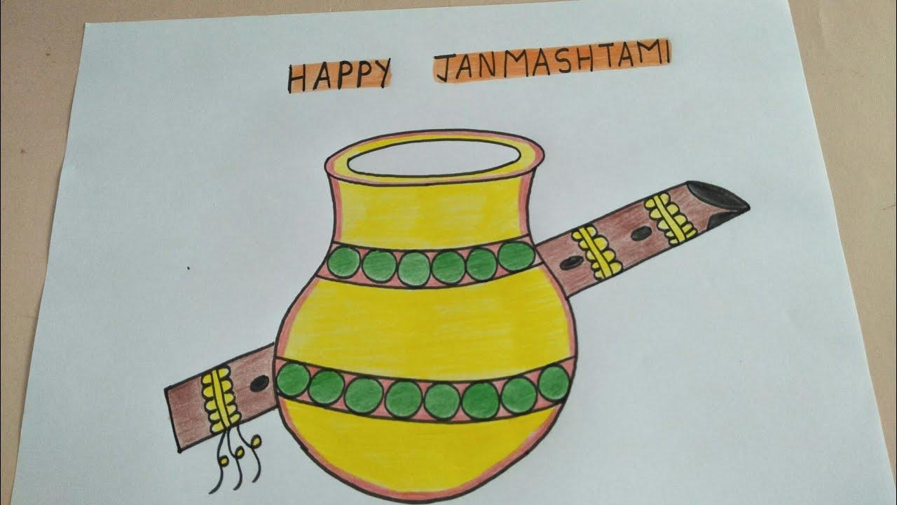 How To Draw Happy Krishna Janmashtami Festival Drawing Drawing Of Flute And Matki For Lord Krishna Youtube