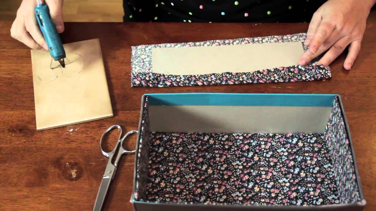 Lining A Cardboard Box With Fabric Cool Functional Crafts Youtube
