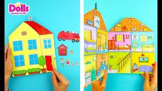 🏠🚗👩👨👶SIMPLE DOLLHOUSE OF PAPER FOR KIDS HANDMADE FOR PAPER DOLLS