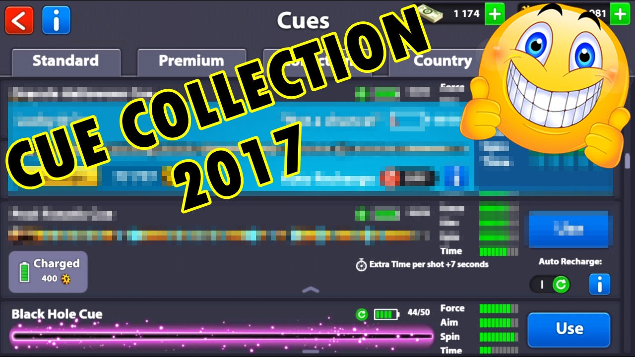 Lucky 8 Auto >> 8 Ball Pool My Cue Collection 2017 Updated Lucky 8 Cue Vs Pool Fnatic Cue
