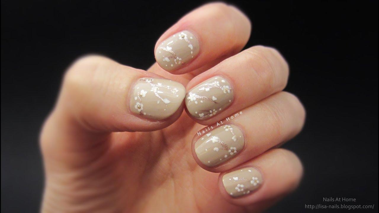 Delicate Flower Print Nail Art - YouTube