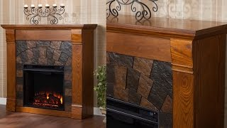 Sei Elkmont Salem Ventless Freestanding Electric Fireplace In Stunning Wood Grain Antique Oak