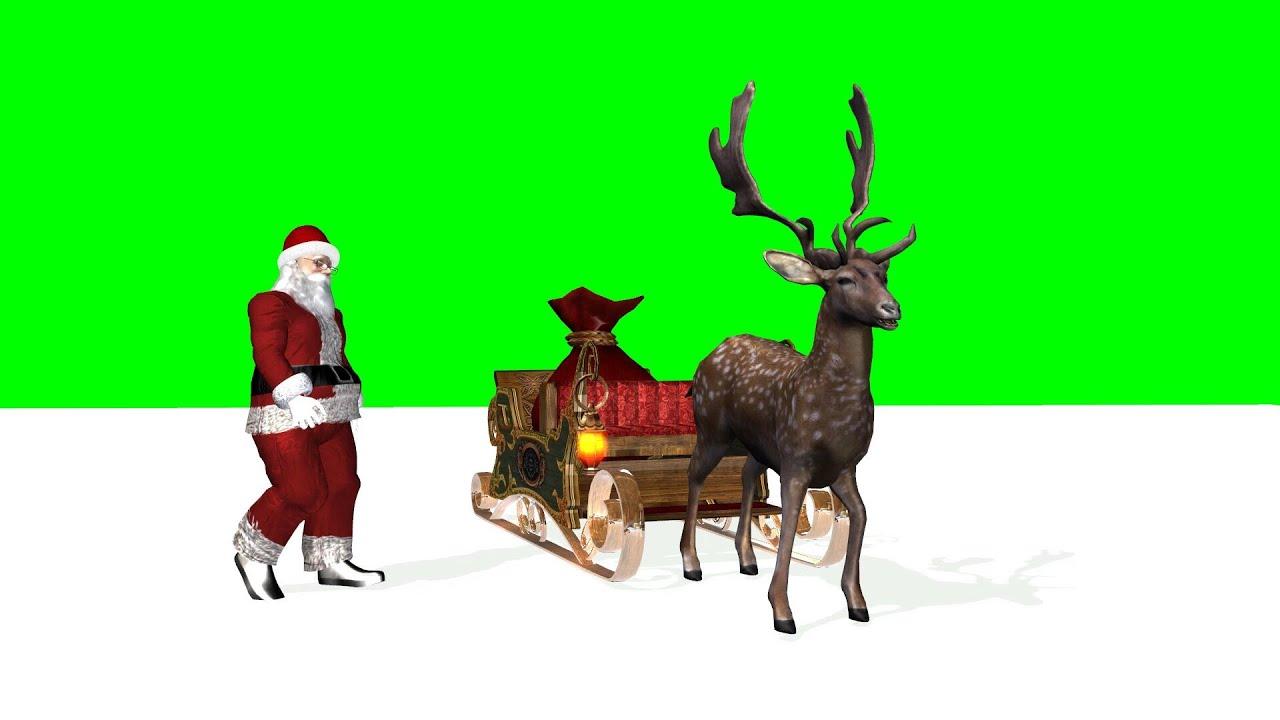 Christmas animation Santa, Reindeer, Sleigh - green screen 2 - YouTube