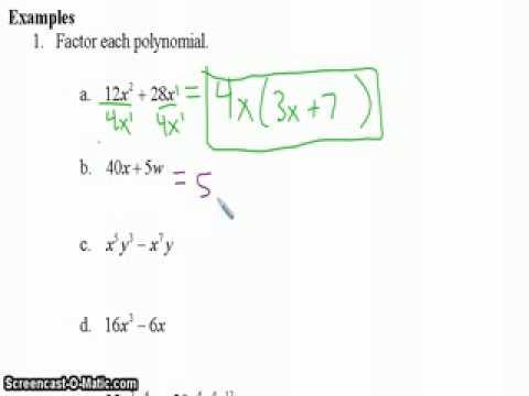 92 part 1 GCF version of factoring polynomials