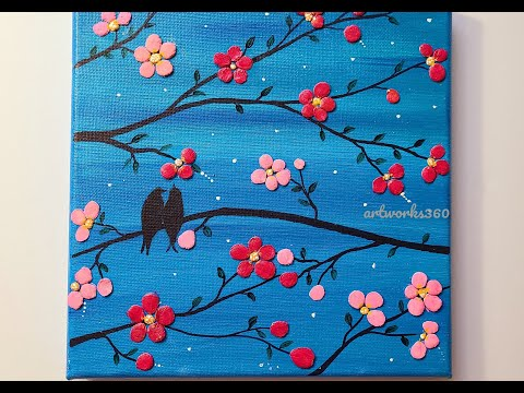 clay painting on canvas|3D flower painting|DIY clay painting|wall decor|easy love bird painting