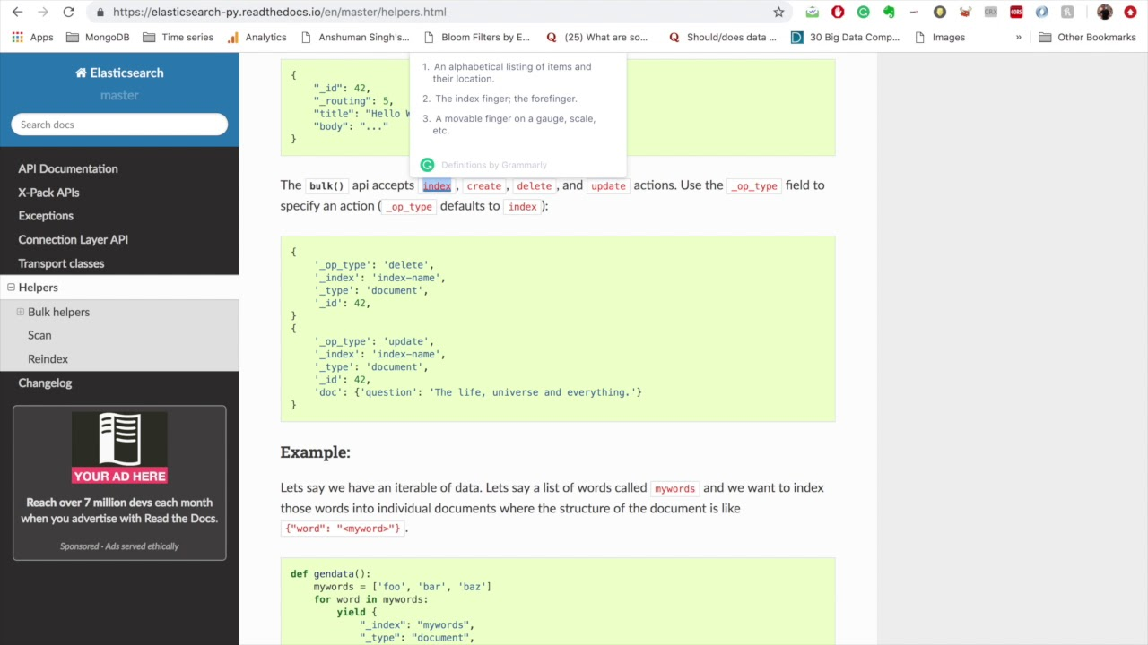 Chapter 8 : Bulk Insert and Scan | Elasticsearch in Python