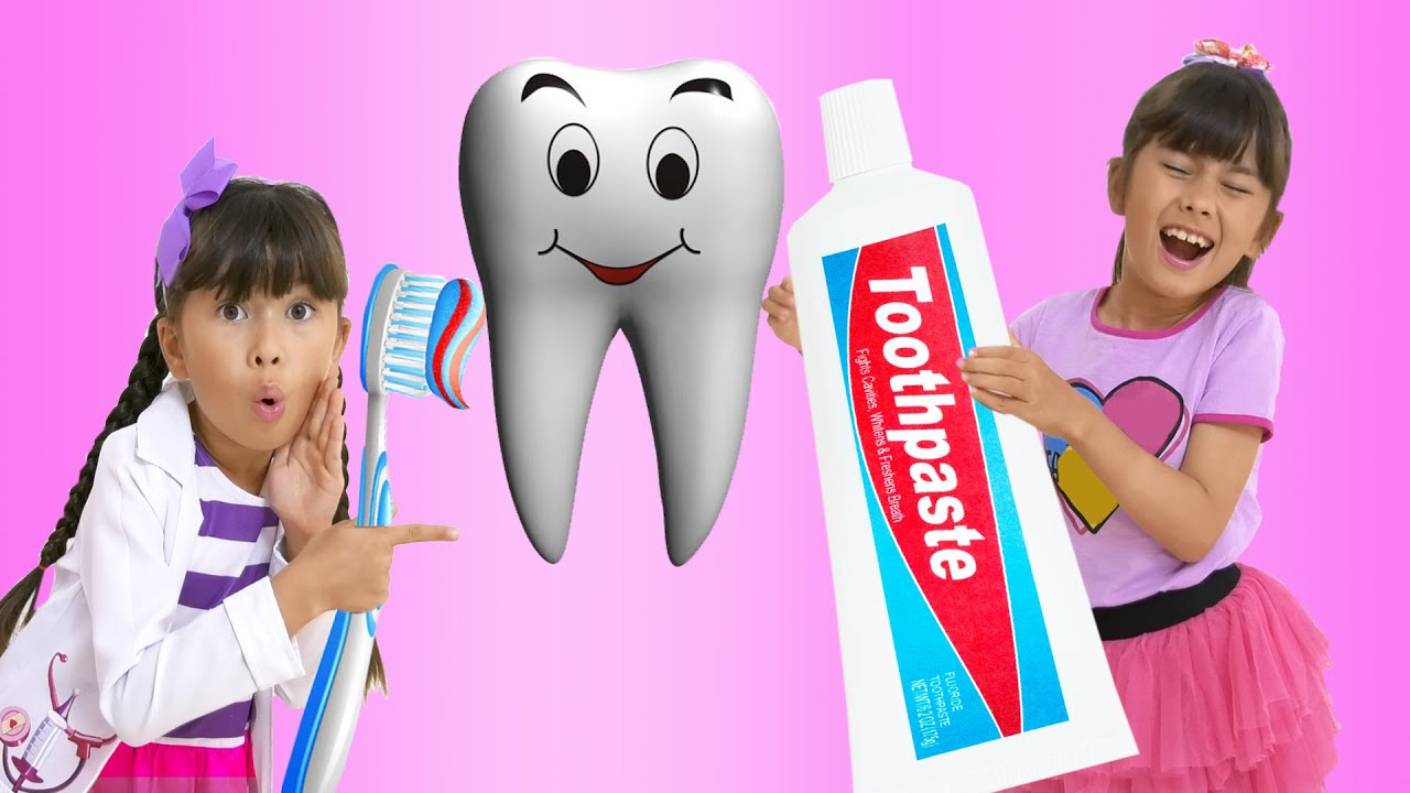 Angela and Abby Hatcher go to the Dentist and choose toothpaste. Kids learn to brush their teeth 2