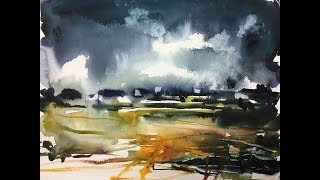 Landscape Nature Watercolor painting demonstration 2x speed tutorial