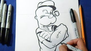 Cómo dibujar a Popeye el Marino | How to draw Popeye the Sailor