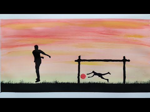 Football player scenery/Easy football player drawing/watercolour football scenery painting/part3