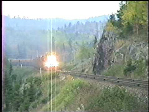 Algoma Central SD40, GP38's, & 3 GP7's get a run for the hill out of Hawk Jct