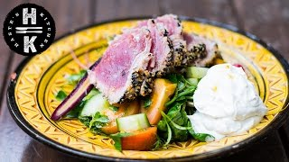 Seared sesame tuna, fattoush salad & tahini yoghurt - Collab series