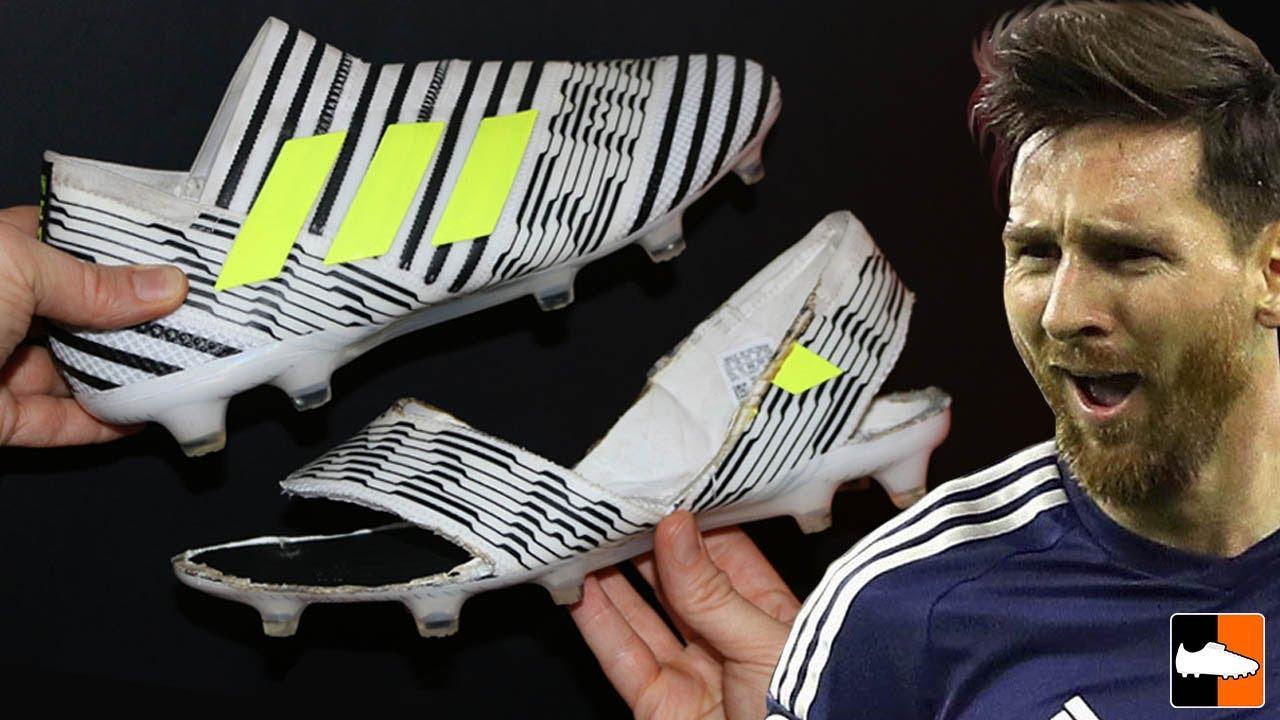 940a9503e7df Cutting Messi's Boots - What's Inside the Nemeziz? - YouTube