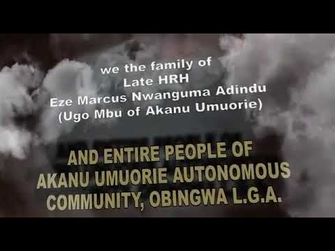 His Royal Highness Eze Marcus Adindu Funeral Service..