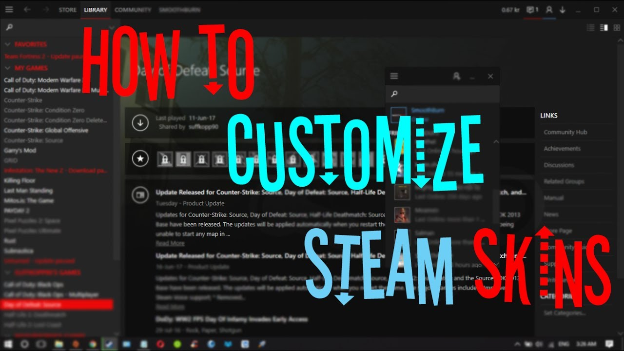 how to change steam skin