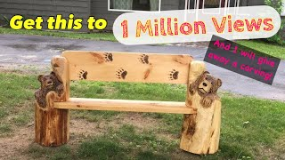 Chainsaw carving a bench