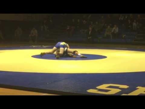 VIDEO: Newtown's Joe Accousti with a first-period pin at 170 pounds against New Milford.