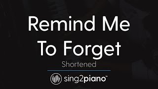 Remind Me To Forget (Piano Karaoke Instrumental) Kygo & Miguel