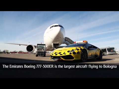 Emirates Boeing 777 chases Lamborghini Supercar at Bologna Airport | Emirates Airline