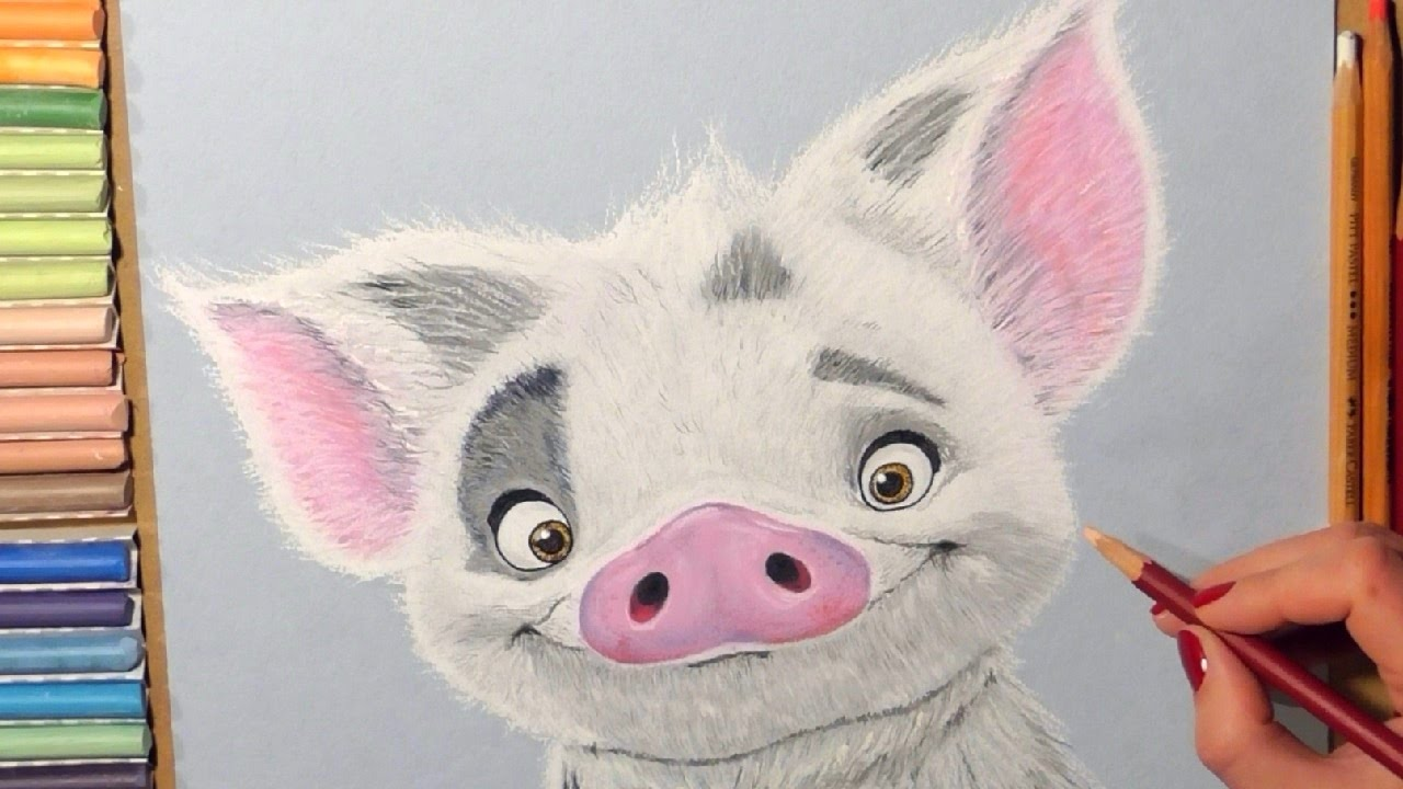 drawing pua pig from moana soft pastel youtube