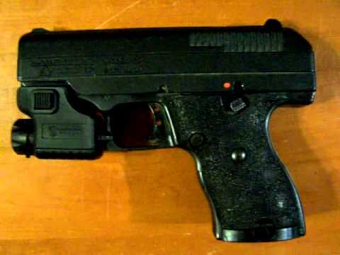 Hi Point C9 stippled grip and Laser Sight mod installation wmv