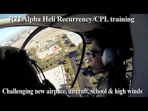 R22 Alpha Helicopter recurrency/Commercial Pilot flight training/instruction lesson with comms audio