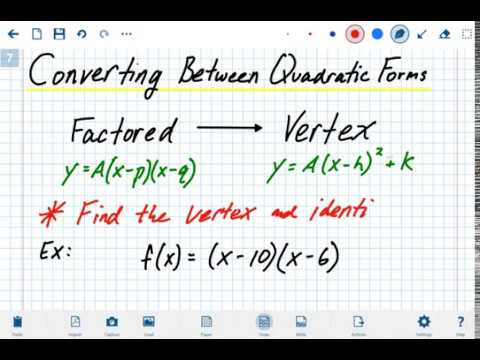 factored form to vertex form A2 - Converting Factored Form to Vertex Form