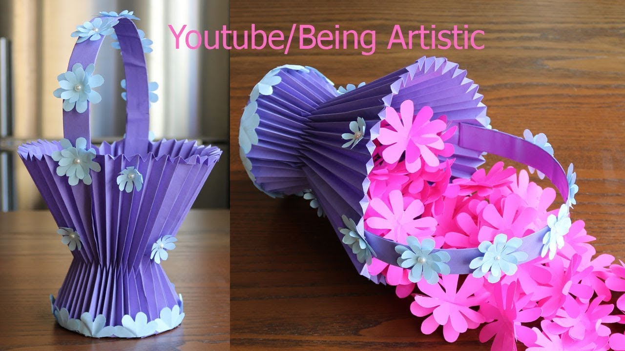 How To Make A Paper Basket - DIY - Paper Craft - YouTube