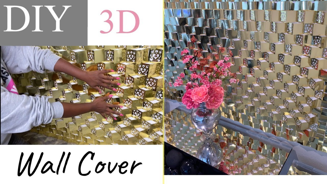 LARGE 3D WALL COVERING| DIY WALL USING PACKS| GLAM RENTAL DIY ON A BUDGET!