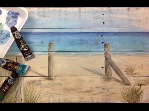 Pintar al oleo paisaje de playa efectos perlados sobre - Pintar sobre barniz ...
