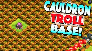 Clash of Clans - THE CAULDRON TROLL BASE! BRONZE LEAGUE TROLLING! Clash of Clans Funny Moments